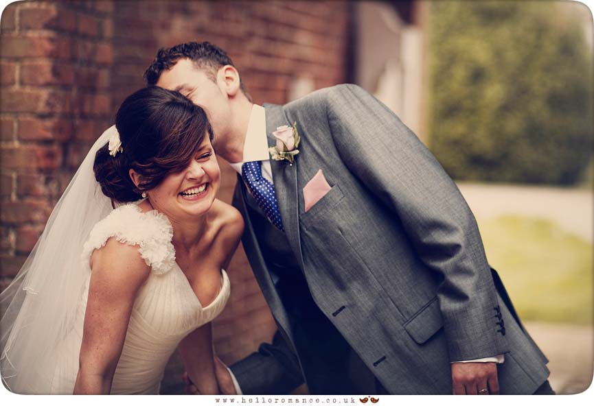 Groom kissing Bride - Vintage wedding photography Hintlesham Suffolk - Hello Romance Wedding Photography