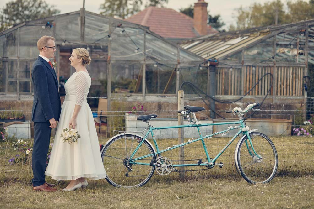 Bride and groom with Tandem, Cambridge Wedding Photography - www.helloromance.co.uk