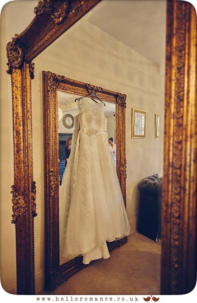 Bride's dress at Woodhall Manor - www.helloromance.co.uk