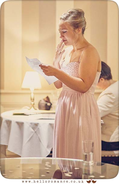 Bridesmaid crying during reading in ceremony - www.helloromance.co.uk