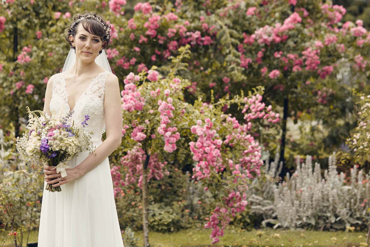 Suffolk Woodland Fairy Wedding Beautiful Bridal Portrait with flowers at Otley Hall - www.helloromance.co.uk