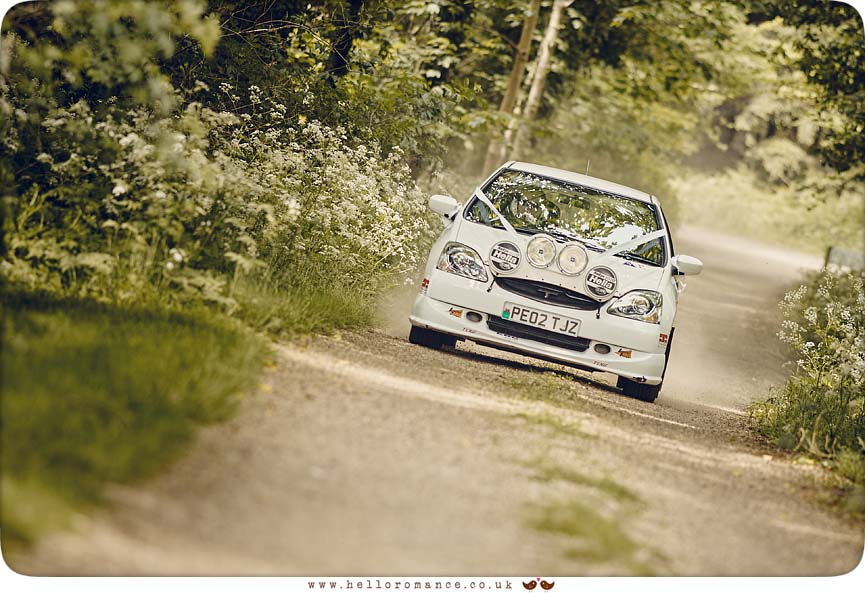 Wedding Rally Car arriving at Butley Priory wedding venue, Suffolk - www.helloromance.co.uk