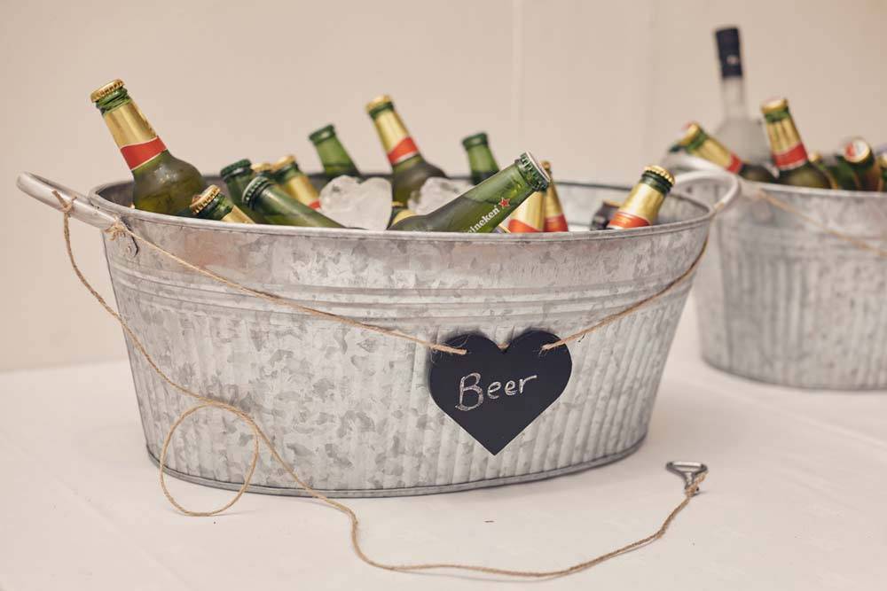 Beer and Cider trough at wedding - www.helloromance.co.uk