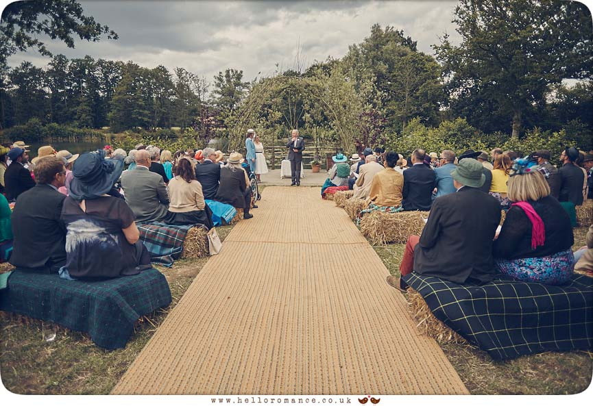 Outdoor Wedding Ceremony at Wild Events Chalkney Water Meadows - www.helloromance.co.uk
