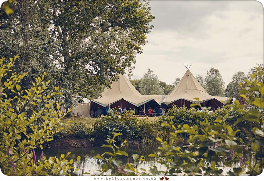 Photograph of venue at wedding at Wild Events Chalkney Water Meadows - www.helloromance.co.uk