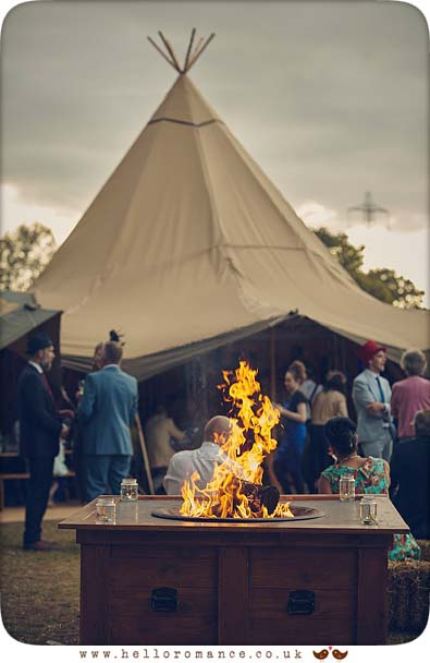 Fire pit at 2015 Colchester tipi wedding - www.helloromance.co.uk