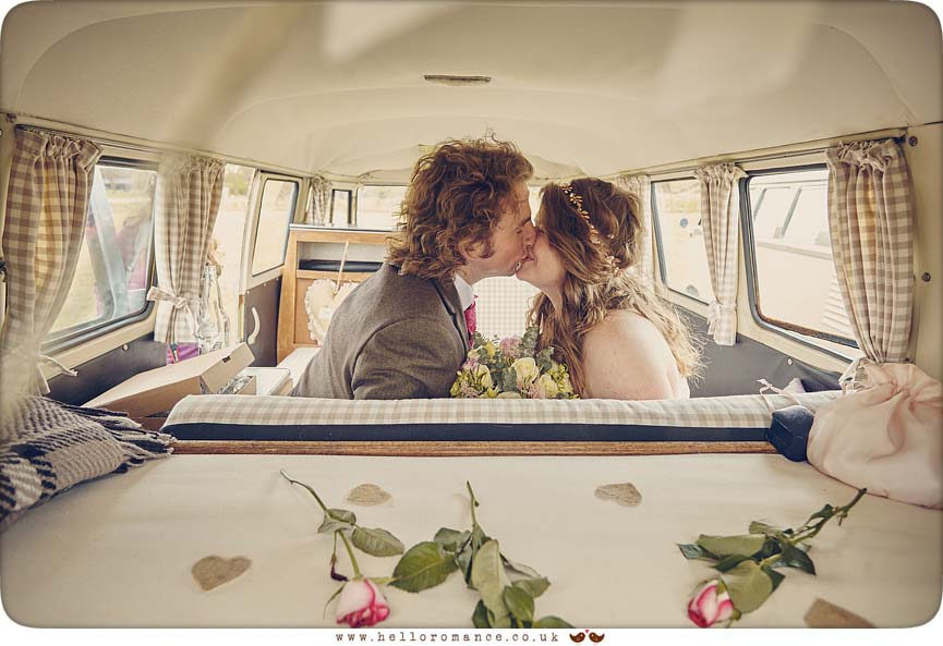 VW Camper Van Wedding kiss - www.helloromance.co.uk