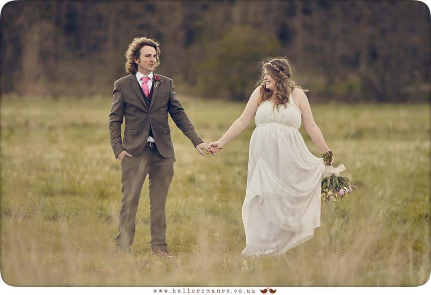 Bride and groom holding hands, quirky Suffolk wedding photo - www.helloromance.co.uk