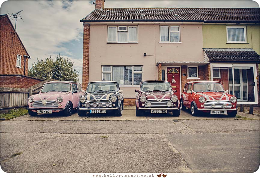 4 Austin Mini convoy wedding cars - www.helloromance.co.uk