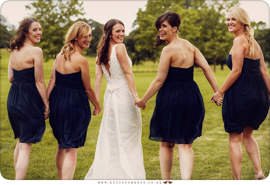 Bride with bridesmaids at Helmingham Hall Wedding Photography - Katie and Greg - Hello Romance Wedding Photography Ipswich Suffolk