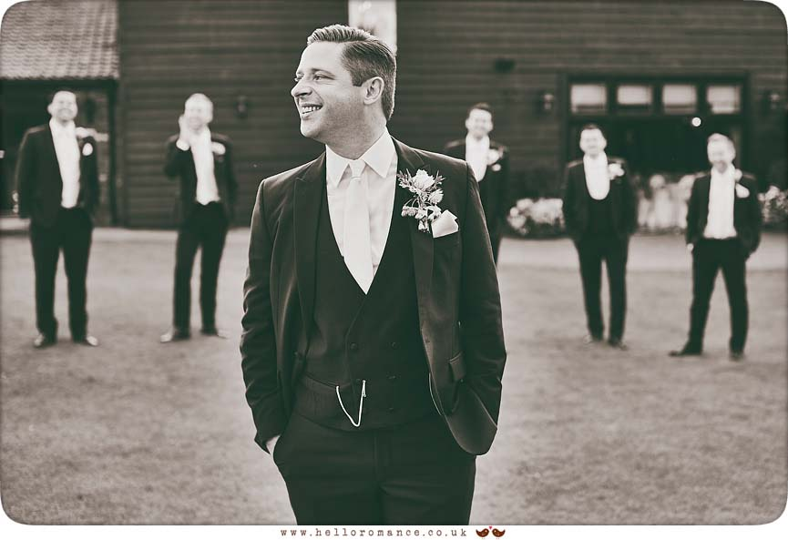 Black and white moody groom and ushers photo at Crondon Park wedding venue in Essex 2015 - www.helloromance.co.uk