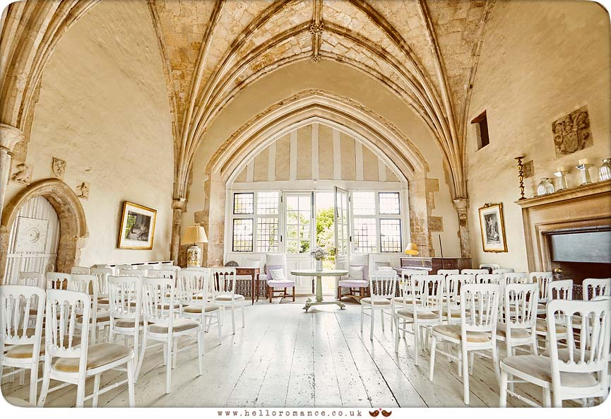 Inside Butley Priory, ceremony set-up - www.helloromance.co.uk