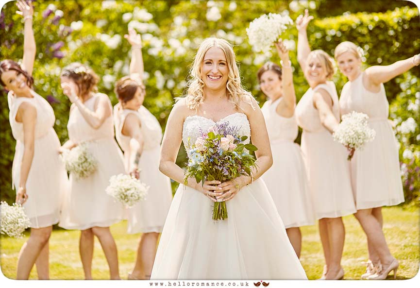 Bride with Bridesmaids - fun line-up portrait - www.helloromance.co.uk