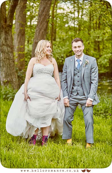 Cute photo of bride and groom showing socks and shoes - www.helloromance.co.uk