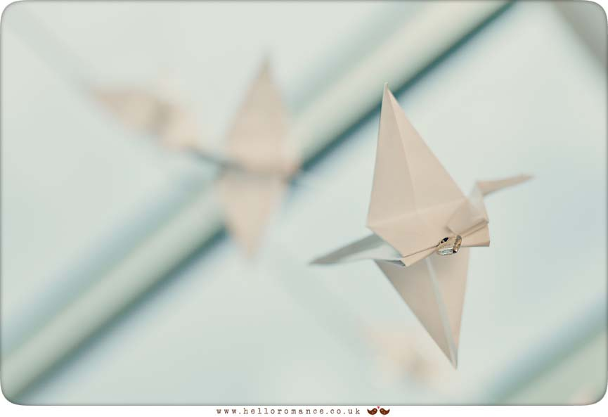 Home made origami Cranes at wedding in Suffolk - www.helloromance.co.uk