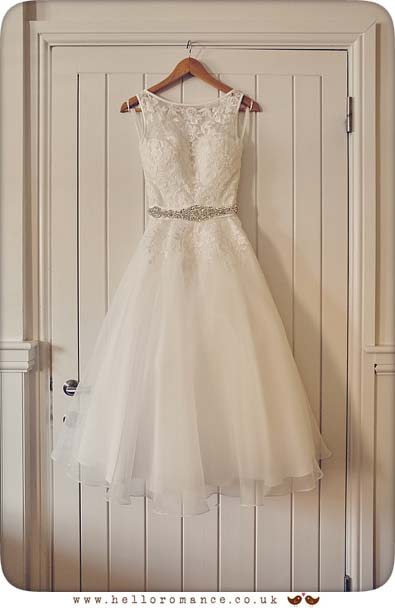 Beautiful short tea-length wedding dress, Suffolk - www.helloromance.co.uk