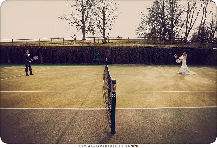 Bride and Groom playing Tennis - Bride and Groom Photoshoot - Maison Talbooth Dedham Wedding Photography Essex - Sian and James - Hello Romance Wedding Photography Fun Vintage wedding photography