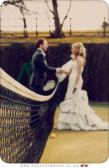 Bride and Groom shake hands after playing tennis - Bride and Groom Photoshoot - Maison Talbooth Dedham Wedding Photography Essex - Sian and James - Hello Romance Wedding Photography Fun Vintage wedding photography