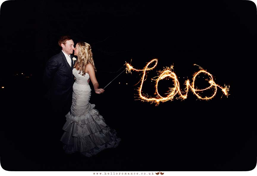 Love text Bride and Groom with Sparklers Light Painting at Wedding - Maison Talbooth Dedham Wedding Photography Essex - Sian and James - Hello Romance Wedding Photography