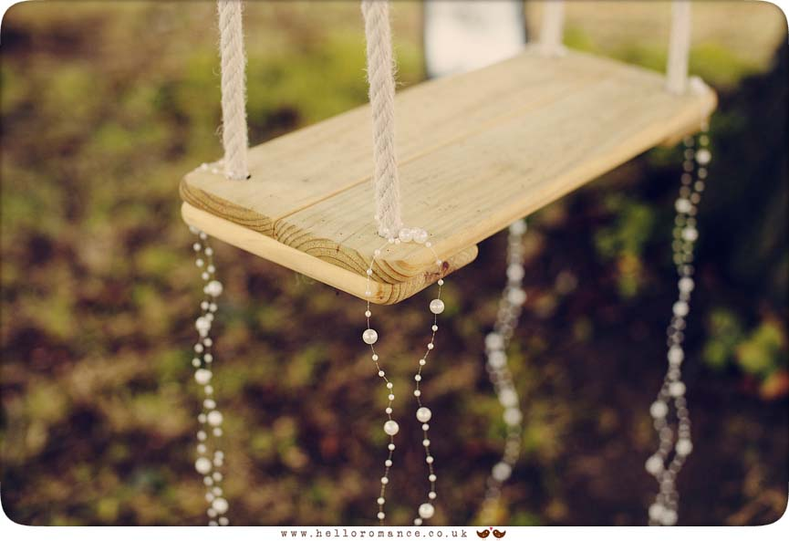 Rustic wooden swing at wedding in Wilby, Eye, Suffolk - www.helloromance.co.uk
