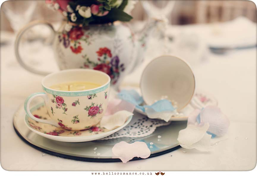 Vintage tea-cups at wedding near Eye, Suffolk - www.helloromance.co.uk