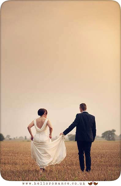 Wedding photo - bride and groom at sunset in Eye, Suffolk - www.helloromance.co.uk