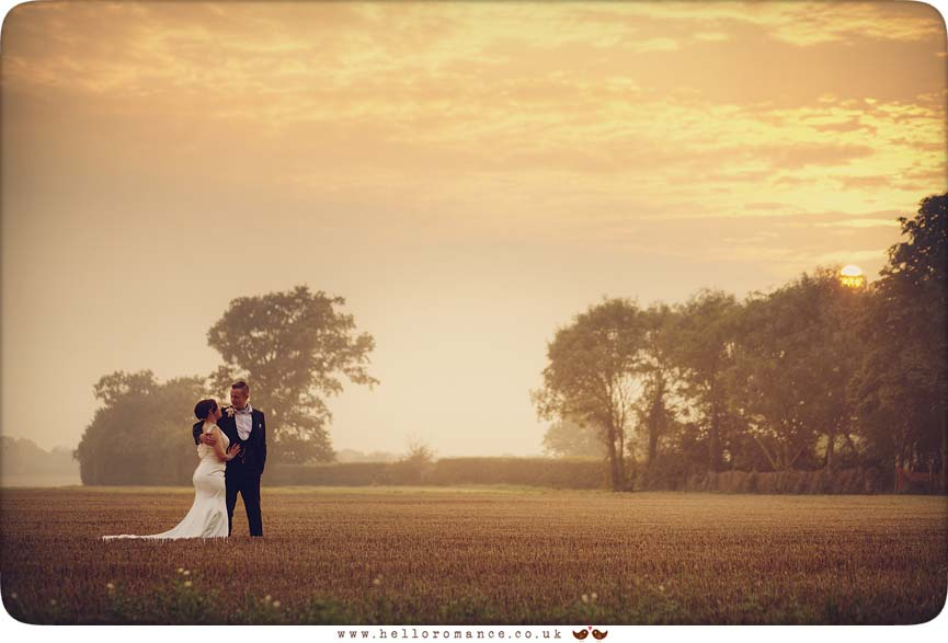 Sunset landscape with bride and groom - www.helloromance.co.uk