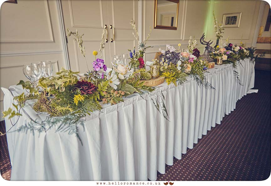 Table decorations Stoke by Nayland golf club - www.helloromance.co.uk