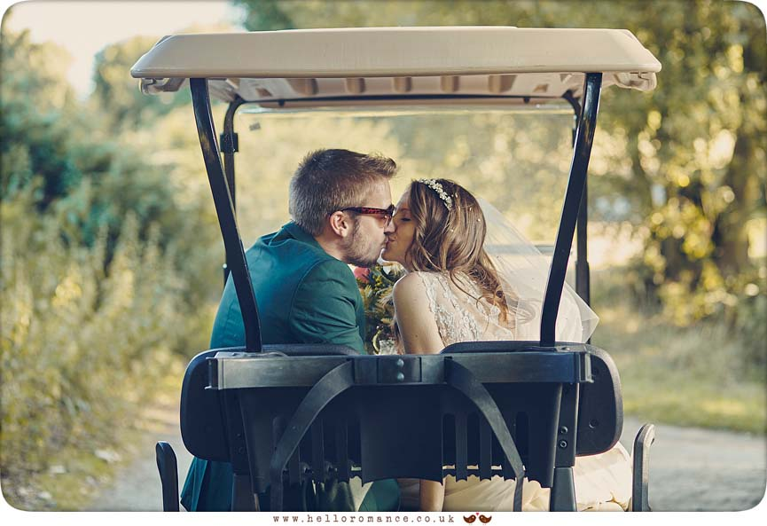 Stoke By Nayland Golf Club wedding, golf buggy kiss - www.helloromance.co.uk