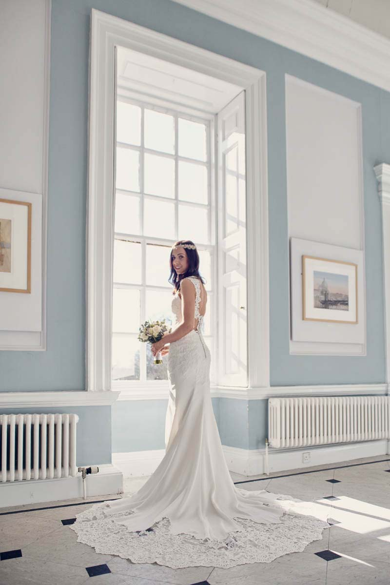 Bridal full length portrait with beautiful wedding dress at Hintlesham Hall - www.helloromance.co.uk