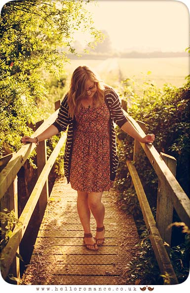 Girl on wooden bridge Sunset On Location Portrait Alternative Photography Vintage Suffolk Stowmarket www.helloromance.co.uk