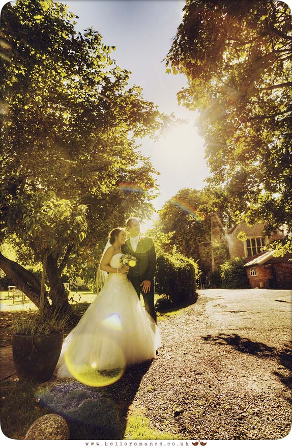 Bride and Groom Sun Flare Yaxley Hall - Hello Romance Wedding Photography Suffolk