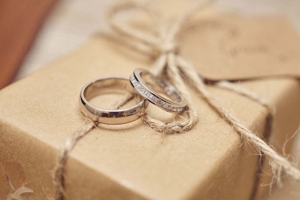 Wedding rings, bride's gift, brown paper parcel with string - www.helloromance.co.uk