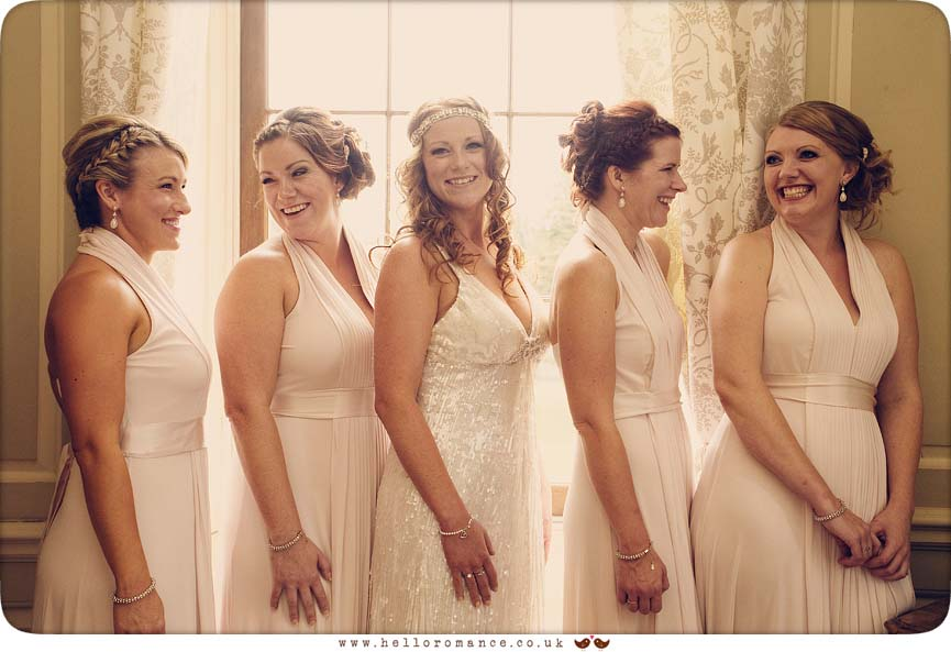 Fun Bridesmaids Laughing, Glemham Hall Wedding Photography Suffolk - Hello Romance