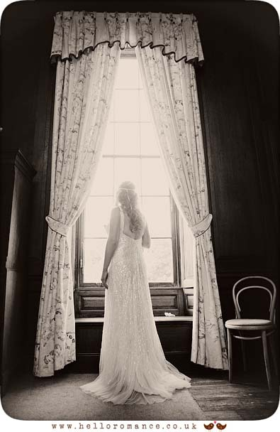 Bride Black & White Window Portrait Glemham Hall Wedding Photography Suffolk - Hello Romance