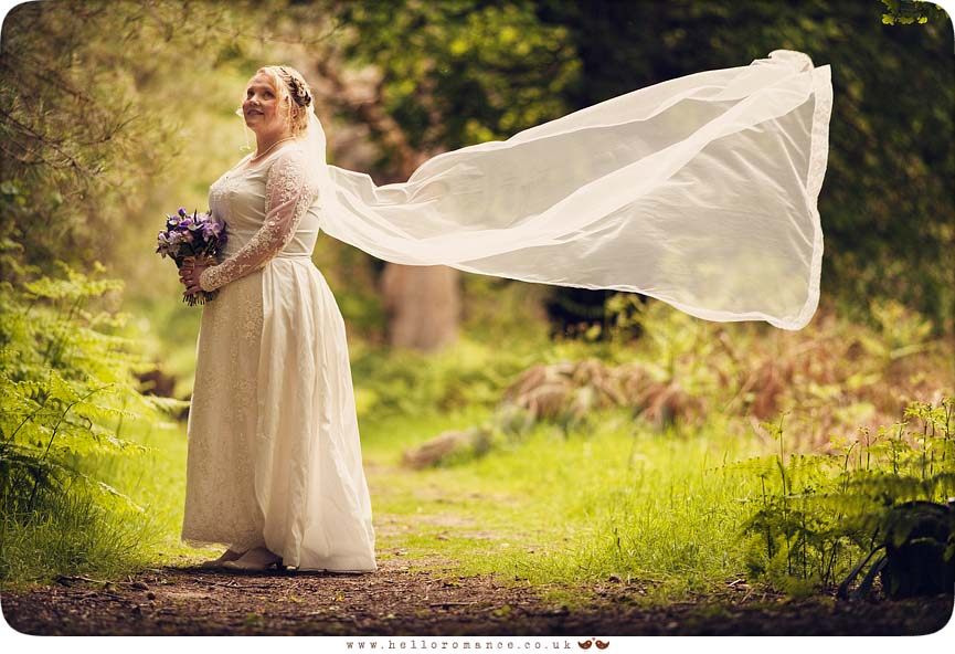 Bride Veil blowing in wind Portrait - Hello Romance