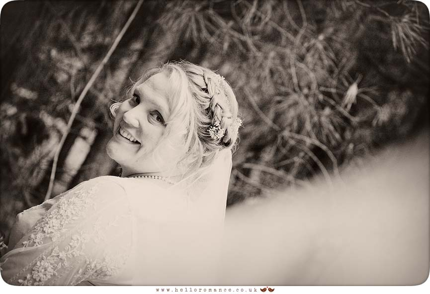 Bride looking over shoulder Black & White Poritrait monochrome Wedding Photography Suffolk Ipswich - Hello Romance