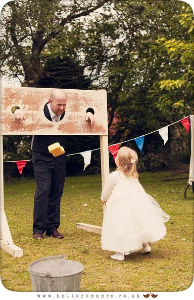 Groom in stocks funny cute wedding photo bridesmaid - Hello Romance