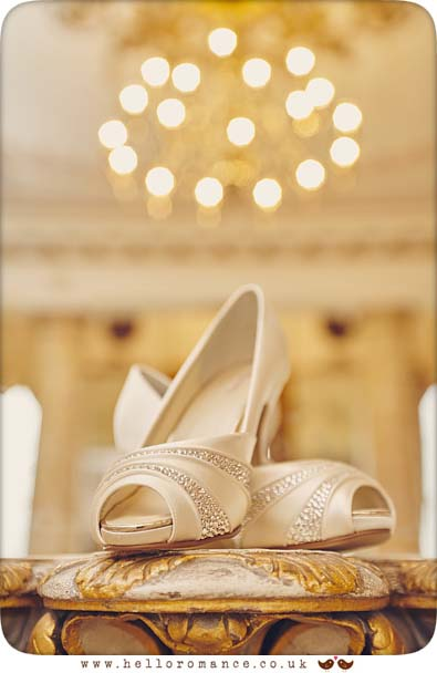 Bridal shoes at Gosfield Hall, Essex - www.helloromance.co.uk