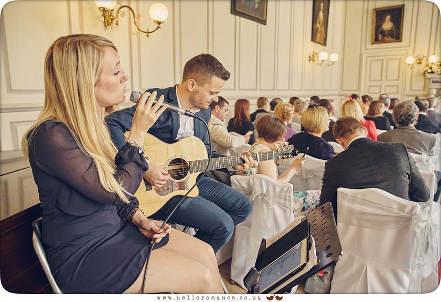 Timeless Acoustic guitar and vocalist wedding musicians at Essex wedding at Gosfield Hall - www.helloromance.co.uk