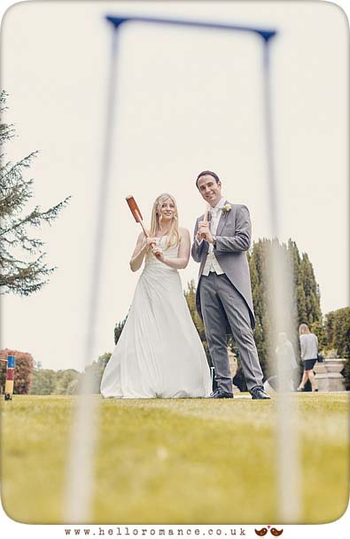 Bride and Groom playing croquet in Essex - www.helloromance.co.uk
