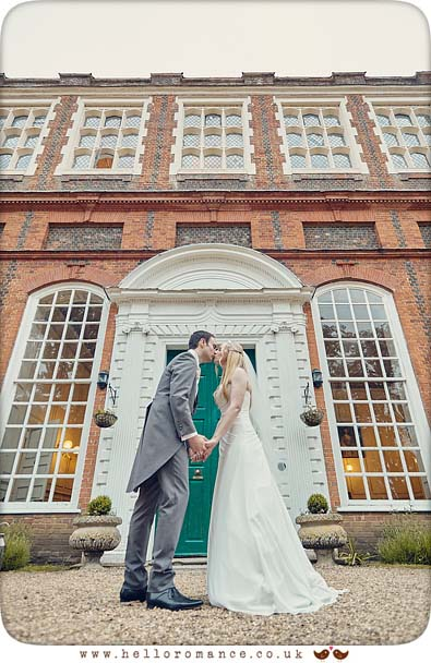 Evening wedding photo of bride and groom at Gosfield Hall - www.helloromance.co.uk