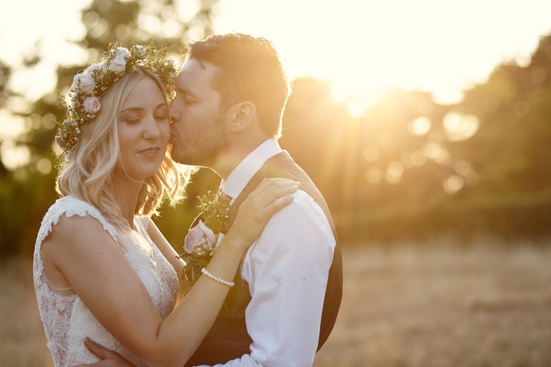 Sunset kiss wedding photo in Suffolk by Hello Romance Wedding Photography Ipswich